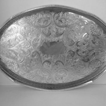 Vintage, Reed and Barton Silver Plated Tray, Embossed, Made in Sheffield England