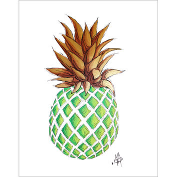 """""""GREEN AND GOLD PINEAPPLE I"""" Original Tropical Coastal Original Fruit Icon Painting from the """"Sketch Style"""" Collection"""