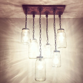 Industrial/Rustic Handmade 6 Mason Jars Chandelier/Hanging Pipe Pendant Light/Kitchen/Bar/Farm/Cottage