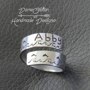 Personalized Ring for Girls, Wrap Around Ring Personalized Gift, Marine Biology Jewelry, Dolphin Ocean Fish, Dolphin Lover Gift