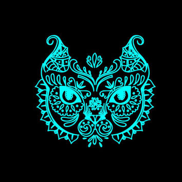 Cat Intricate Cat Head Vinyl Decal car truck auto vehicle window refrigerator laptop computer custom sticker Fancy decal