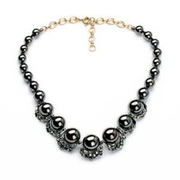 Black Glass Bead Necklace - Free Shipping