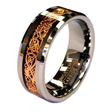 8mm Tungsten Carbide Ring 18K Rose Gold Plated Celtic Dragon Wedding Band