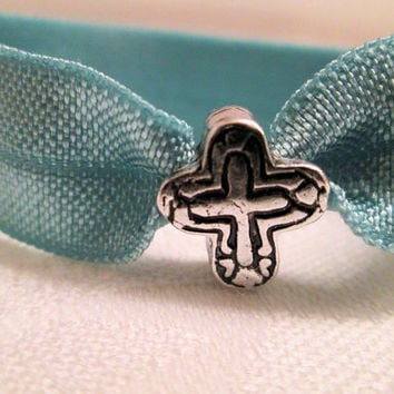Teal fold over elastic hair tie, Antique silver plated cross bead, Religious, Christian jewelry, Simple cross, Cross bracelet, Ponytail