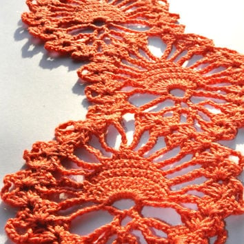 Crochet Scarf, Crochet Lace Scarf, Crochet Lace, Orange Crochet Scarf, Coral Orange Crochet Lace Scarf