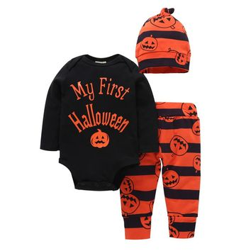 Newborn Long-sleeve Sets Halloween Baby Suits Baby Cute Outfits Baby Boys Girls Halloween Pumpkin Bodysuit Autumn Infant Suits