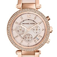 Women's Michael Kors 'Parker' Blush Acetate Link Chronograph Watch, 39mm - Rose Gold/ Blush