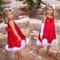 Hot Girls Baby Christmas Pleated Tutu Dress Xmas Holiday Clothing Costume  W_C = 1945737220