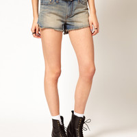 Levi's High Low Hem Denim Shorts