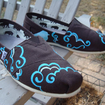 swirled clouds -hand painted on TOMS shoes-made to order