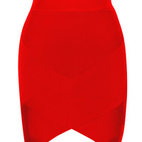 Red Petal Hem Bandage Skirt