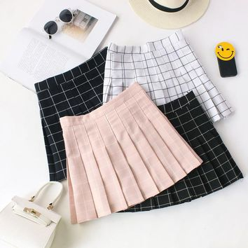 Women Skirts 2018 Summer Women Plaid Kawaii Skirt High Waist Black White Skirts Harajuku Mini Skirts #008
