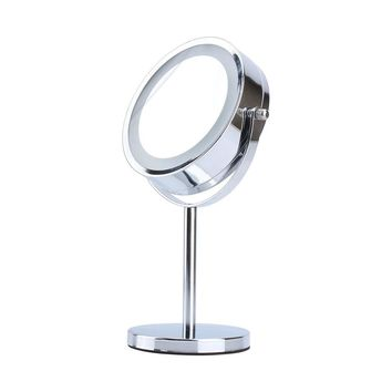 LED Light Cosmetic Makeup Mirror, Double-Sided Adjustable 5x Magnifying Vanity Mirror Hand Held Tabletop Makeup Mirror with Stand
