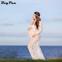 2017 Maternity Photography Props Summer Black Lace Transperant Pregnant Props Pregnancy Summer Long Style beach dress