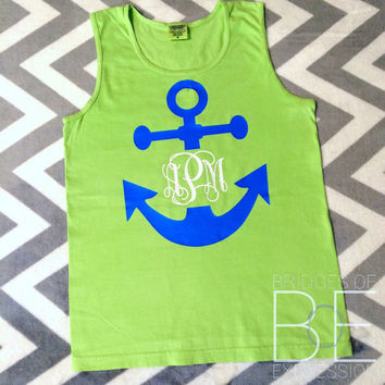 Comfort Colors Monogrammed Anchor Two Color Design Tank Top (Unisex)