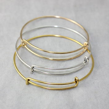 10pcs/LOT Diameter 63-65mm Fashion Alloy Charms Bracelets Bangles Accessories Adjustable Expandable Wire Bracelets Jewelry
