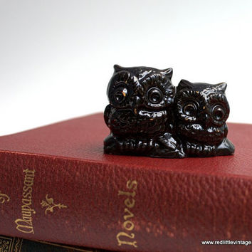 Two Brown Ceramic Vintage Owls Sitting on a Branch- Mother and Child, home decor, feng shui, desk accessories, collectors