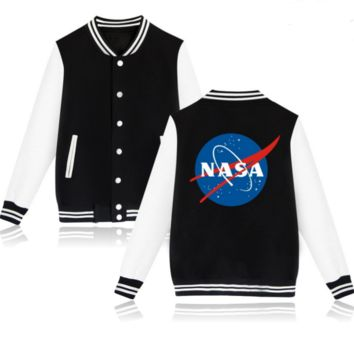NASA new men 's jacket men' s loose cashmere large baseball clothing trend Black