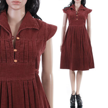 70s Corduroy Fit and Flare Midi Dress Brick Brown Wood Button Winged Cap Sleeve 1970s Vintage Boho Hipster Clothing Womens Size Small