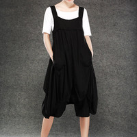 Linen Dungarees - Black Suspender Overall Pedal Pushers Cute Romper Everday Summer Outfit for Women - C081