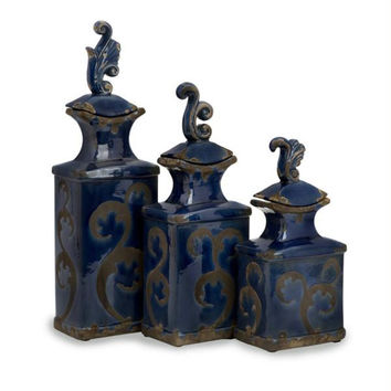 3 Lidded Bottles - Cobalt Blue
