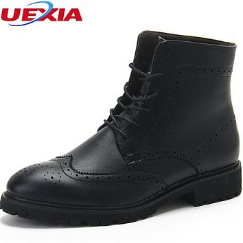Winter Full Brogue Ankle Boots Men Carved Ankle Boots Dress Shoes Pointed Toe Casual Shoe Men Leather Fur Warmth Cotton Plush