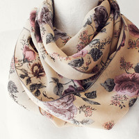 October SALE Shabby Chick Loop Circle Scarf infinity by WhiteMoth
