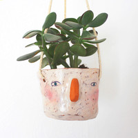 Ceramic Hanging Planter - 'Harry' Face by Megan Clarke
