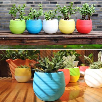 Mini Colourful 1pcs 7*6.5CM Cute Round Home Garden Office Decor Planter Plastic Plant Flower Pots Garden Supplies Free
