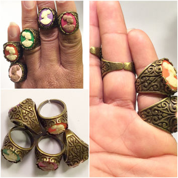 Bronze Vintage Cameo Rings/Free Shipping