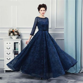 New Design Navy Blue Long Evening Dresses High Quality Lace Floor Length Three Quarter Sleeves Corset Formal Evening Gown