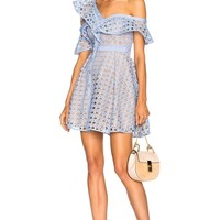 Blue Zari Lace Ruffled One Shoulder Mini Dress