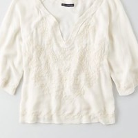 AEO Lace Drapey Tank , Buff | American Eagle Outfitters