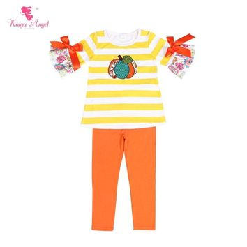 Kaiya Angel Halloween Pumpkin Boutique Kids Clothing Orange Bow Flower Toddler Girls Summer Clothing Set Back To School Outfit