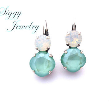 Swarovski Crystal Earrings, 12mm Cushion Cut Mint Green, 8mm White Opal, Lever Back, Antique Silver, Bridesmaids Gift, Free Shipping