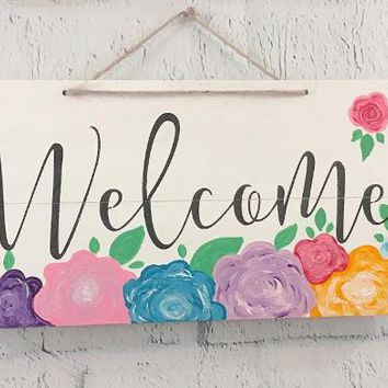 Hand Painted Floral Welcome Sign