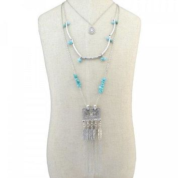 Stylish Faux Turquoise Multilayer Bead Feather Tassel Sweater Chain For Women - Silver