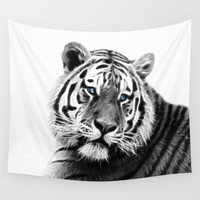 Black and white fractal tiger Wall Tapestry by Laureenr