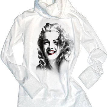 Marilyn Monroe Natural Beauty White Minky Turtleneck