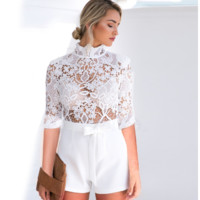 Spring and summer sexy perspective lace jumpsuit white women