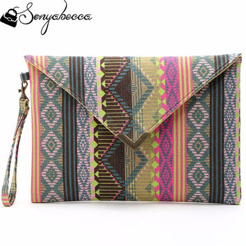 2016 Boho Totem Printing Canvas Wristlet Handbag Womens Envelope Clutches Purse Ladies Evening Party Bags Cheap