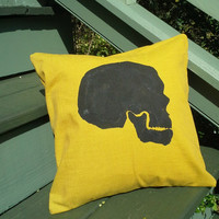 Pick Your #Brain, Well #Skull Pillow Sham in Yellow 12 inches square.  Bright #yellow #pillow with a #hand-painted skull.