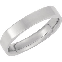 14K White Gold 4mm Square Comfort Fit Plain Men's Wedding Band (Available Ring Sizes 7-12)