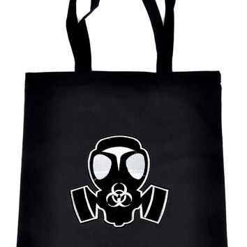 Black Ops Gas Mask on Black Tote Book Bag Bio Hazard Handbag