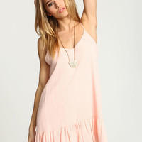 PINK CREPE RUFFLE SLIP DRESS