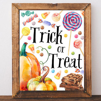 Halloween print, trick or treat print, Halloween printable, decoration, fall decor, art, fall wall art, Autumn, happy Halloween, poster