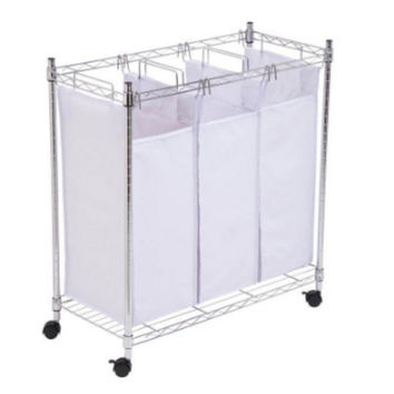 Urban Triple Laundry Sorter Hamper Removable Cotton Bags Laundry Organizer