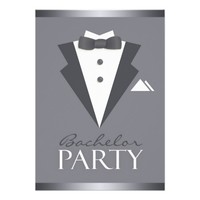 Bachelor Party Black Suit Flat Invitation