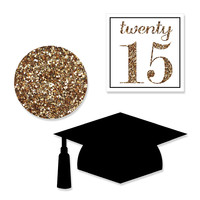 Graduation Shaped Party Paper Cut-Outs - Tassel Worth The Hassle - Gold