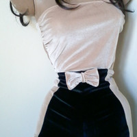 high waisted velvet bow shorts